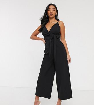 ASOS DESIGN Petite twist front strappy culotte jumpsuit