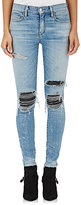 AMIRI Women's Distressed Moto Jeans-Blue, White, Black
