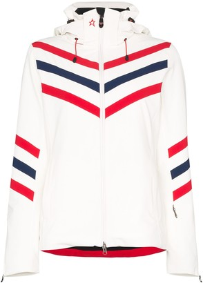 Perfect Moment chevron-striped hooded ski jacket