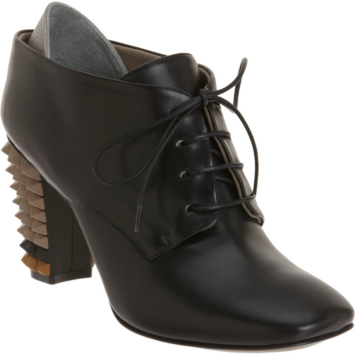 Fendi Spiked Heel Oxford Ankle Boot