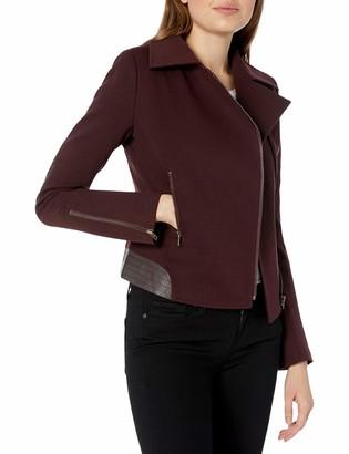 James Jeans Women's Moto Jacket with Vegan Leather Detailing in Deep Burgundy Ponte Petite
