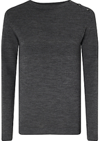 Samsoe & Samsoe Jeppe Basketweave Wool Jumper, Grey Melange