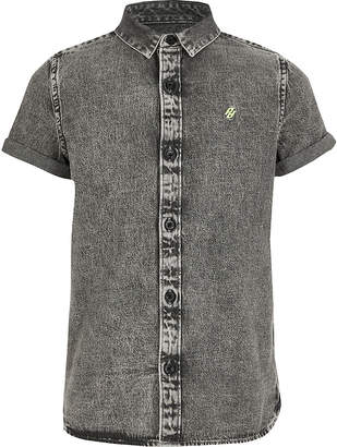 River Island Boys grey washed denim shirt
