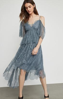 BCBGMAXAZRIA Asymmetric Lace Peplum Dress