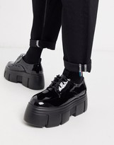 Asos Design DESIGN lace up shoes in black patent faux leather with chunky platform sole