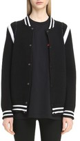 Givenchy Women's Contrast Knit Trim Logo Bomber Jacket