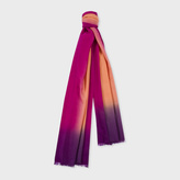 Paul Smith Women's Burnt Orange Dip-Dye Herringbone Cashmere Scarf