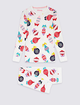Marks and Spencer All Over Print Cotton Pyjamas with Stretch (1-16 Years)