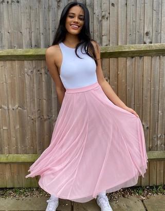 Monki Joanna tulle midi skirt in pink