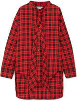 Balenciaga Swing Printed Tartan Cotton-blend Twill Shirt - Red