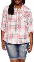 Arizona Long-Sleeve Boyfriend Plaid Shirt-Juniors Plus