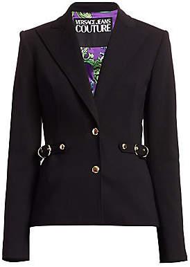 Versace Women's Buckle Detail Ponte Blazer