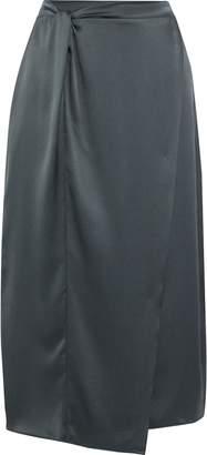 Vince Wrap-effect Twisted Silk-satin Midi Skirt