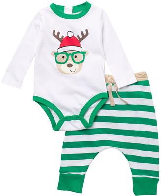 Koala Baby Reindeer Stripe Bodysuit & Joggers Holiday Set
