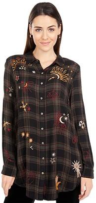 Johnny Was Astraea Velvet Embroidered Back Shirt (Plaid) Women's Clothing