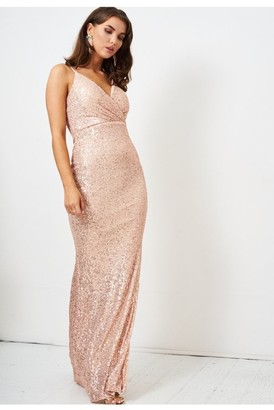 Love Frontrow Rose Gold Sequin Wrap Front Gown