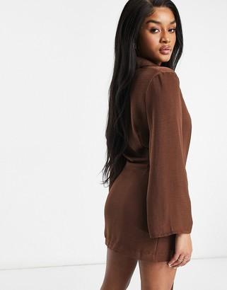 ASOS DESIGN Petite plunge mini drape tie front shirt dress in chocolate
