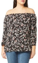 Evans Plus Size Women's Floral Bardot Top