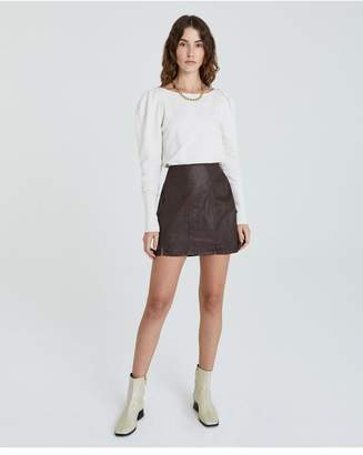 AG Jeans The Adaline Paneled Skirt - Leatherette Lt Raleigh Brown
