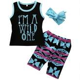 Charm Kingdom Little Kid Baby Girl Cute 3pcs Set I'M A WILD ONE T-shirt and Short Outfits with Headband