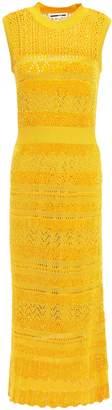 McQ Crochet-knit And Chenille Striped Midi Dress