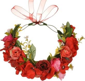 YAZILIND Wedding Bridal Rose Flower Wreath Crown Bridesmaid Floral Garland Beach Headdress Photo Props Headband(Red)