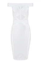 Quiz White Mesh Insert Bandage Dress