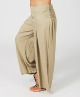 Aller Simplement Camel Shirred Palazzo Pants - Plus