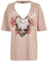 Topshop Skull choker neck rock t-shirt