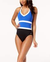 Nautica Colorblocked Halter One-Piece Swimsuit Women's Swimsuit