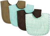 Trend Lab 4-Pack Bouquet Bib Set in Cocoa Mint