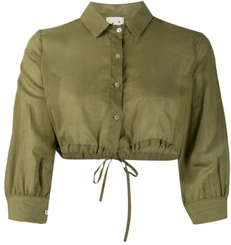 L'Autre Chose Drawstring-Hem Cropped Shirt