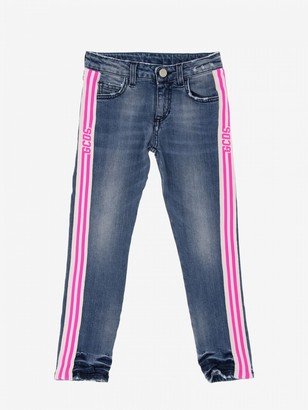 GCDS Jeans With Striped Bands And Logo