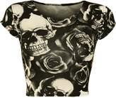 WearAll Women's Print Cap Sleeve Crop Top - US 4-6 (UK 8-10)