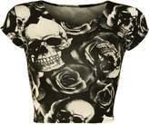 WearAll Women's Print Cap Sleeve Crop Top - US 8-10 (UK 12-14)