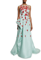Monique Lhuillier Sleeveless Draped Illusion Gown w/Contrast Floral Appliques, Seafoam