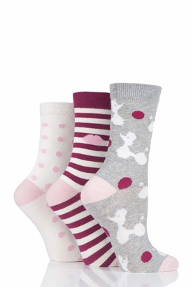 Lulu Guinness Ladies Poodles Stripes and Dots Cotton Socks Pack of 3 Grey 4-8