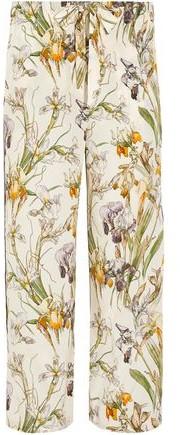 Alexander McQueen Floral-Print Silk Wide-Leg Pants
