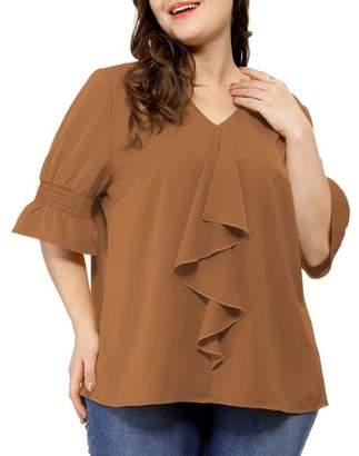Unique Bargains Women's Plus Size Ruffle Loose V Neck Smocked Sleeves Top Blouse