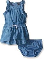 Calvin Klein Baby-Girls Light Denim Dress with Eyelet Trim