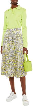 Ganni Printed Satin Midi Skirt