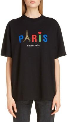Balenciaga Paris Love Logo Graphic Oversized Cotton Tee