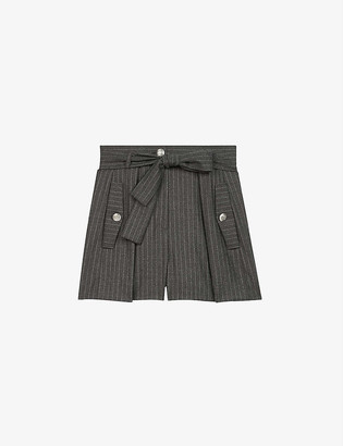 Maje Belted stripe-print high-rise wool and cashmere-blend shorts