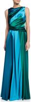 Talbot Runhof Tri-Tone Shiny Crepe-Satin Gown