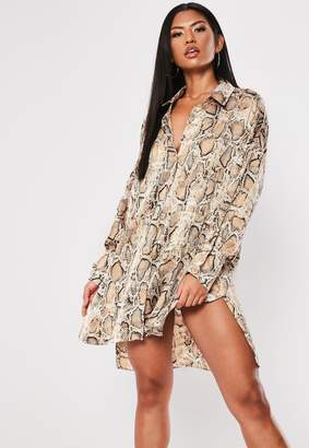 Missguided Brown Snake Oversized Dip Back Shirt Dress