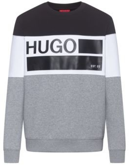 HUGO BOSS Crew-neck fleece sweatshirt with brand-manifesto print