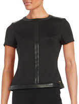 Calvin Klein Faux Leather-Trimmed Top