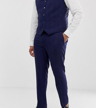 Asos Design DESIGN Plus wedding skinny suit trousers in blue wool blend herringbone