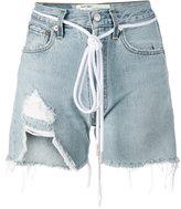 Off-White distressed denim shorts