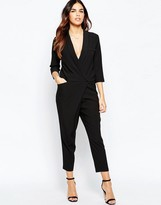 Asos Jumpsuit with Wrap Front and Long Sleeves